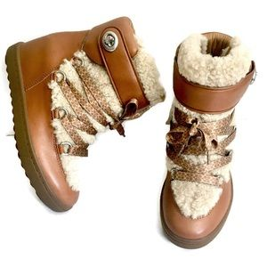 Coach Monroe Shearling Fur Trim Boots